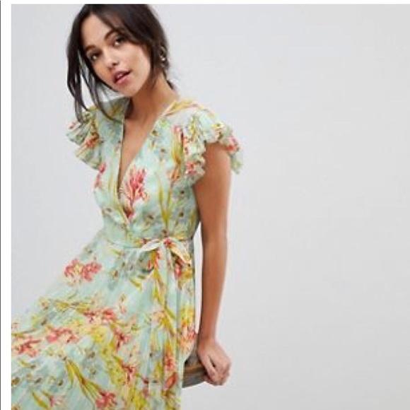 Floral maxi bridesmaid wedding guest dress mint